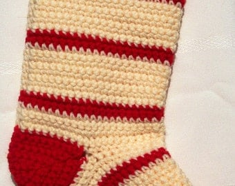 Crocheted Christmas Stocking-Cream and Red
