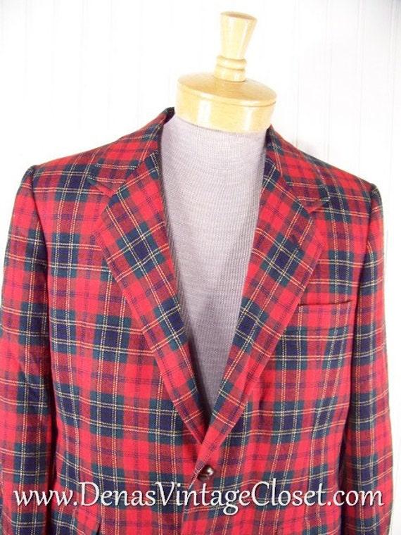 Mens Vintage Pendleton Red Tartan Plaid Jacket Blazer Wool Sz