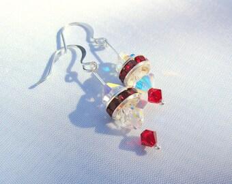 Swarovski Crystal Holiday Earrings, Women's Dangle Earrings, Beaded Crystal Holiday Earrings, Women's Beaded Dangle Earrings