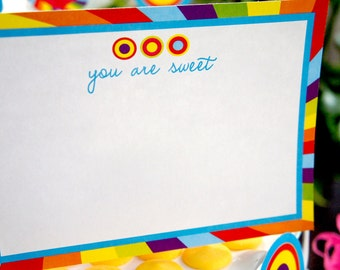 Candy Bar Birthday Party Thank You Notes - INSTANT DOWNLOAD - Blank Notecards