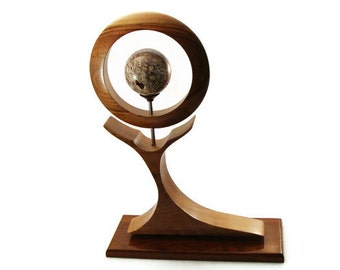 Contemporary Wood Sculpture with Desert Rock sphere - Art by Akita Wood Works