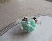Aqua three flower cabochon ring, acrylic auqua floral cabochon is set on adjustable filigree bronze ring