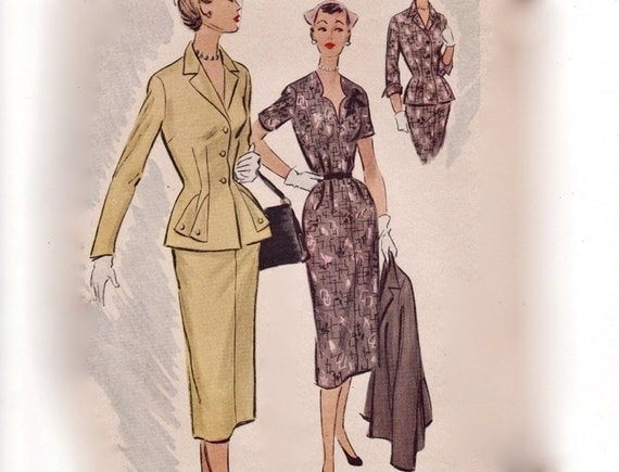 Vintage 1950s Sewing Pattern - Sweetheart Neckline Dress & Nip Waist Jacket with Flap Detail - 1951 McCall's 8754, Bust 38