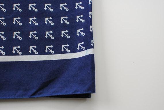 Cotton Scarf -Anchor print -Navy Head scarf - Handkerchief square scarf -Nautical Print