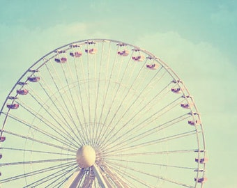 Carnival Print, nursery decor, ferris wheel photo, nursery print, aqua, pastel, shabby chic, circus print, babys room