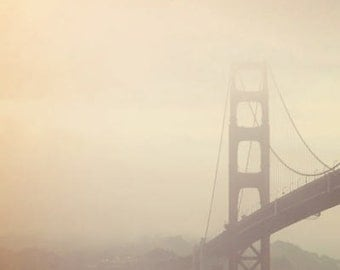 San Francisco Photograph, Golden Gate Bridge, California, fog, minimal, travel photography, muted tones, cream, minimal, brown, earth tones