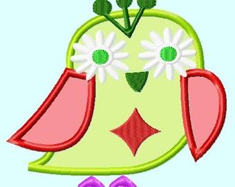 Flower Eyes Owl Applique Embroidery Design INSTANT download