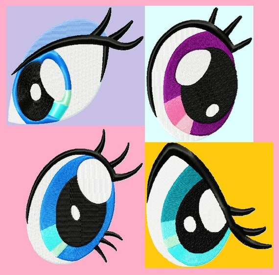 4 Eyes Embroidery Design 3 sizes each ( great for pony plush patterns )