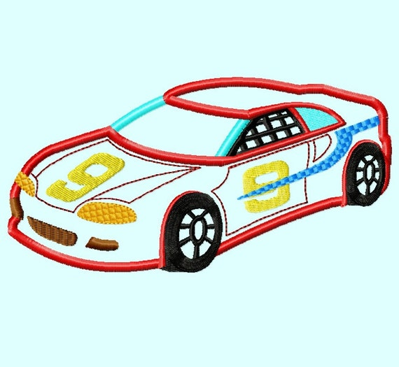 Red Race Car Applique Embroidery Design 3 Sizes Instant