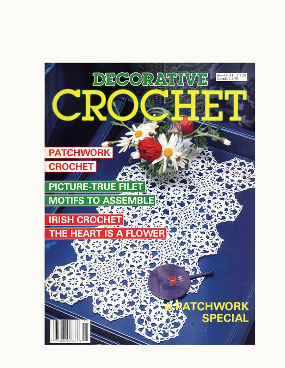Decorative Crochet Pattern Magazine Sept 1989 No. 11, Motifs, Patchwork, Irish Crochet, Lion, Cat, Parakeets, Parasol, Butterflies, Deer