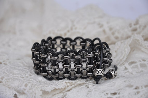 Gunmetal chain and black leather bracelet with silver plated pewter beads.  Boho Chic,  Goth, Gothic, Country, Biker, Rocker