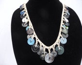 Blue Button Necklace, Crocheted  Jewelry, Chunky Neck Candy