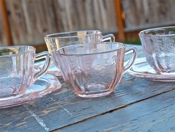 SALE...Vintage Federal Depression glass cups and plates circa 1930s...pink, amber, yellow...was 48 now 42.