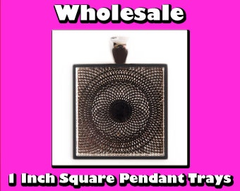 COMBO Crafting Kit - 50 Pendant Trays Wholesale - 25mm - 50 trays, 50 ball chains, 50 25mm glass circles - diy