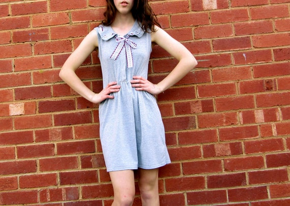 Grey Sundress with Peter Pan Collar and Lace Bow Detail