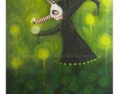 The Offering - Whimsical character within the woods - Green woods - A4 print - forest - fairytale - druid - mask