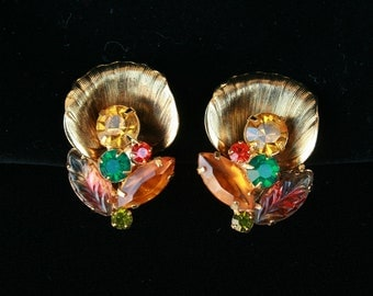 Gorgeous Vintage 1950s Rhinestone Fruit Salad Earrings