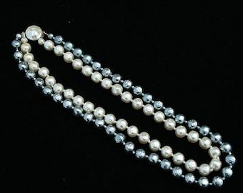 Vintage 2 Strand Faux Baroque Pearl Necklace Grey Cream Wedding Special Occasion
