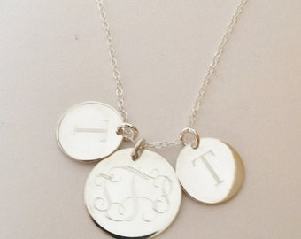 Mothers Necklace Monogrammed Necklace in Sterling Silver with Three Discs Engraved
