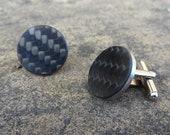 Real carbon fiber black & silver stainless steel cufflinks - Carbon fibre Formula 1 motorsport inspired design guys mens car  driving gift