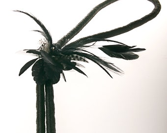 Feather Boa Necklace - Statement Avant Garde Jewelry Accessory in Black - Ready to Ship Gift Under 50