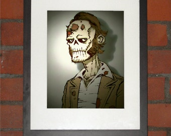 Zombie Instamatic Portrait Art Print