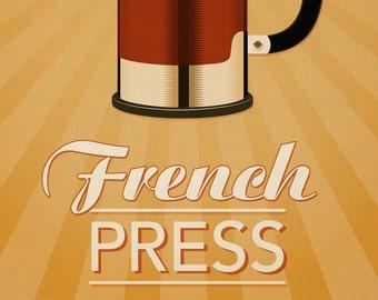 "French Press Coffee Print - Retro Home Decor French Press Poster - 11x14"""
