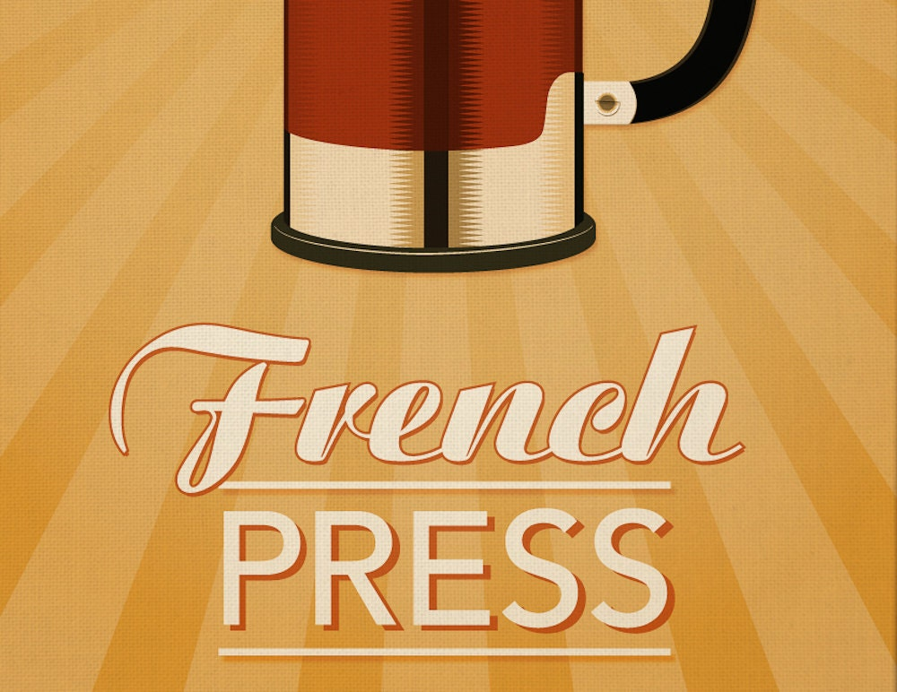 French Press Coffee Print Retro Home Decor French By