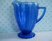 Vintage Cobalt Blue Hazel Atlas Creamer Newport Hairpin Depression Glass