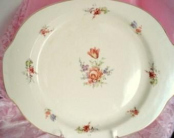 Vintage Platter Household Institute Priscilla Floral Shabby Cottage Chic