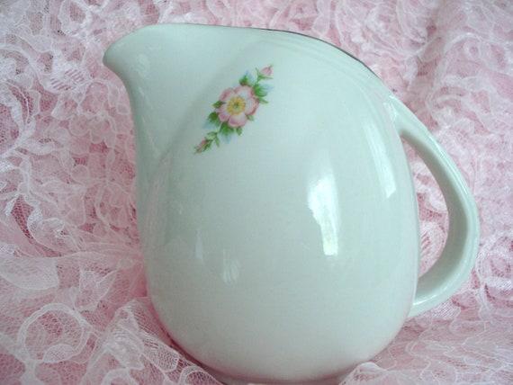 Vintage Hall's Kitchenware Pitcher Rose White Shabby Cottage Chic