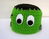 Crochet Monster Frankenstein Inspired Green and Black Hat Beanie Kid Todder Adult Halloween