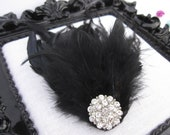 Black Fancy Feathers Fascinator Hair clip and Pin with Sparkling Crystals button Wedding / Girl / Woman / Photograph op