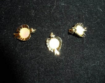 Three Bird Scatter Pins, Gold Tone with A Shell Like Center