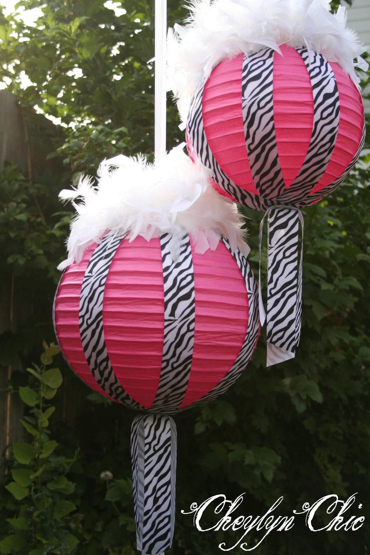 Hot pink and zebra stripe ribbon feathers paper lanterns
