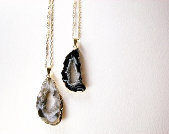Black and White Agate Ocho Druzy Slice Long Necklace - Aphrodite's Necklace II, Gift for Her