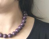 Purple Necklace -Plum Necklace -Ceramic Necklace -Chunky Necklace