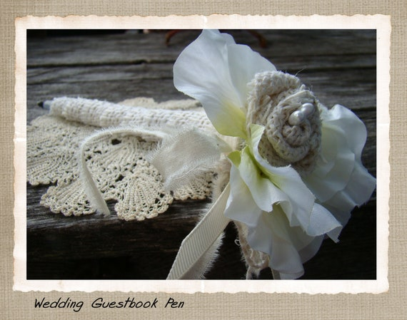 Wedding Guest Book Pen Rustic Burlap White