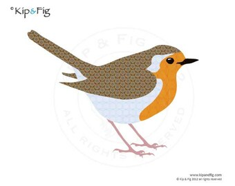 Robin applique template - PDF applique pattern