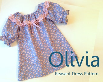 Olivia - Girl's Ruffled Peasant Dress PDF Pattern. Girl Kid Toddler Child Sewing Pattern. Easy Sew Sizes 1(12m)-10 included