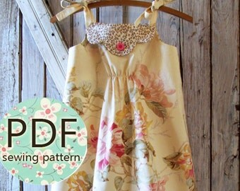 Annie - Vintage Style Girl's Dress Pattern PDF. Girl's Sewing Pattern. Kid's Clothing. Sizes 12m thru 8 included