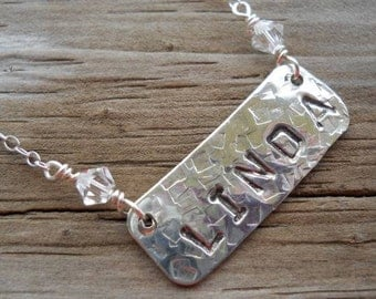 Hand stamped name plate necklace in sterling silver... personalize your jewelry.