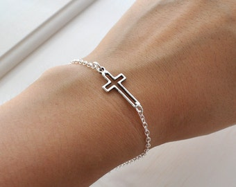 Silver Sideways Cross Bracelet, cross, horizontal cross, silver bracelet