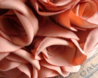 SALE***Cream Orange Fabric Rose Bouquet