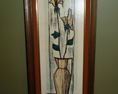 Mid Century Framed Floral Panel by Paillava Litho Prints