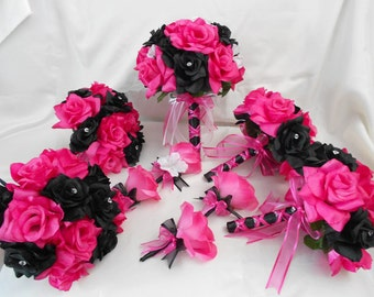 Wedding Bridal Bouquets Your Colors 18 pcs Package Fuchsia Hot Pink Black Roses Toss Bridesmaids  Boutonnieres Corsages FREE SHIPPING