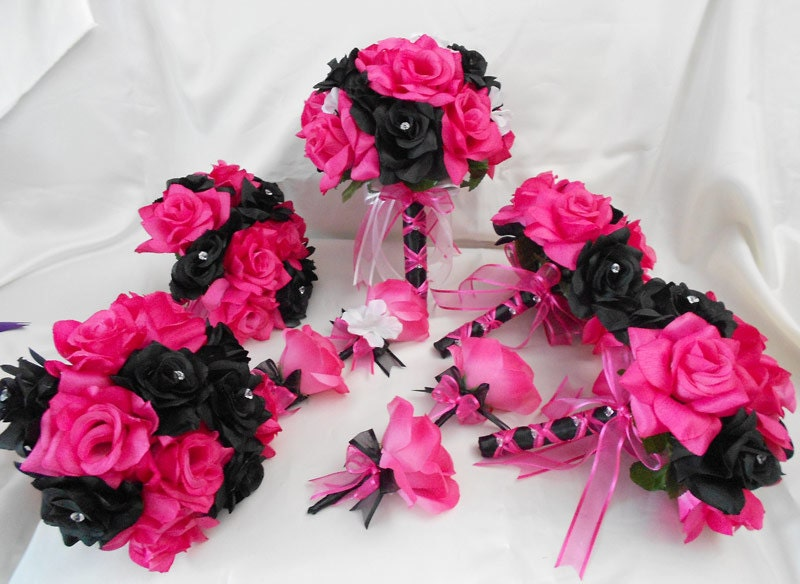 Wedding Bridal Bouquets Package Fuchsia Hot Pink Black Roses
