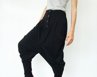 NO.64 Black  Cotton Jersey Casual Baggy Dance Harem Pants, Stylish Button Fly Drop-Crotch Trousers, Unisex Pants