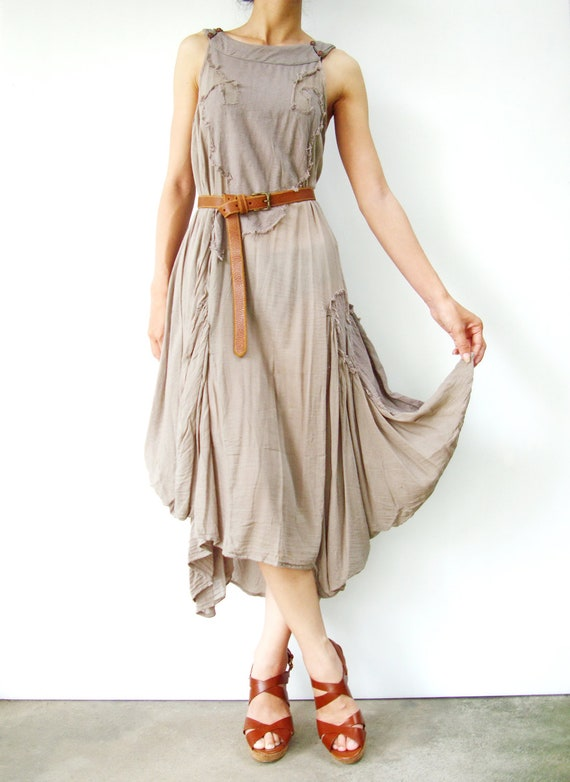 NO.38  Light Grey Cotton Halter Neck Midi Dress