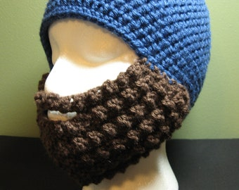 Crochet Bearded Skullcap - Beard Hat - Medium Blue Hat With Beard Facewarmer - Ready To Ship!